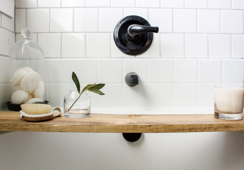 Complete this easy DIY Scrap Wood Bath Tray in just a few minutes - then relax and enjoy! | Designed Simple | designedsimple.com