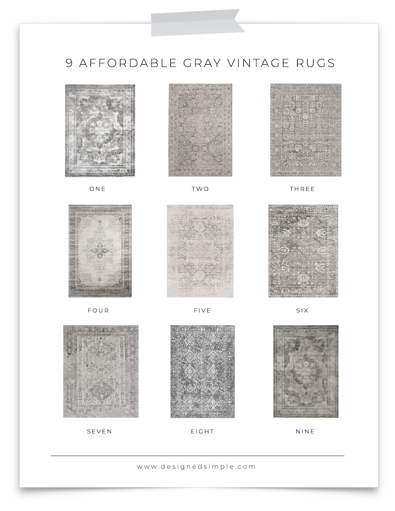 9 Affordable Gray Vintage Rugs | Great for design, soft on your feet, easy to clean, and so many available patterns to choose from! | Designed Simple | designedsimple.com