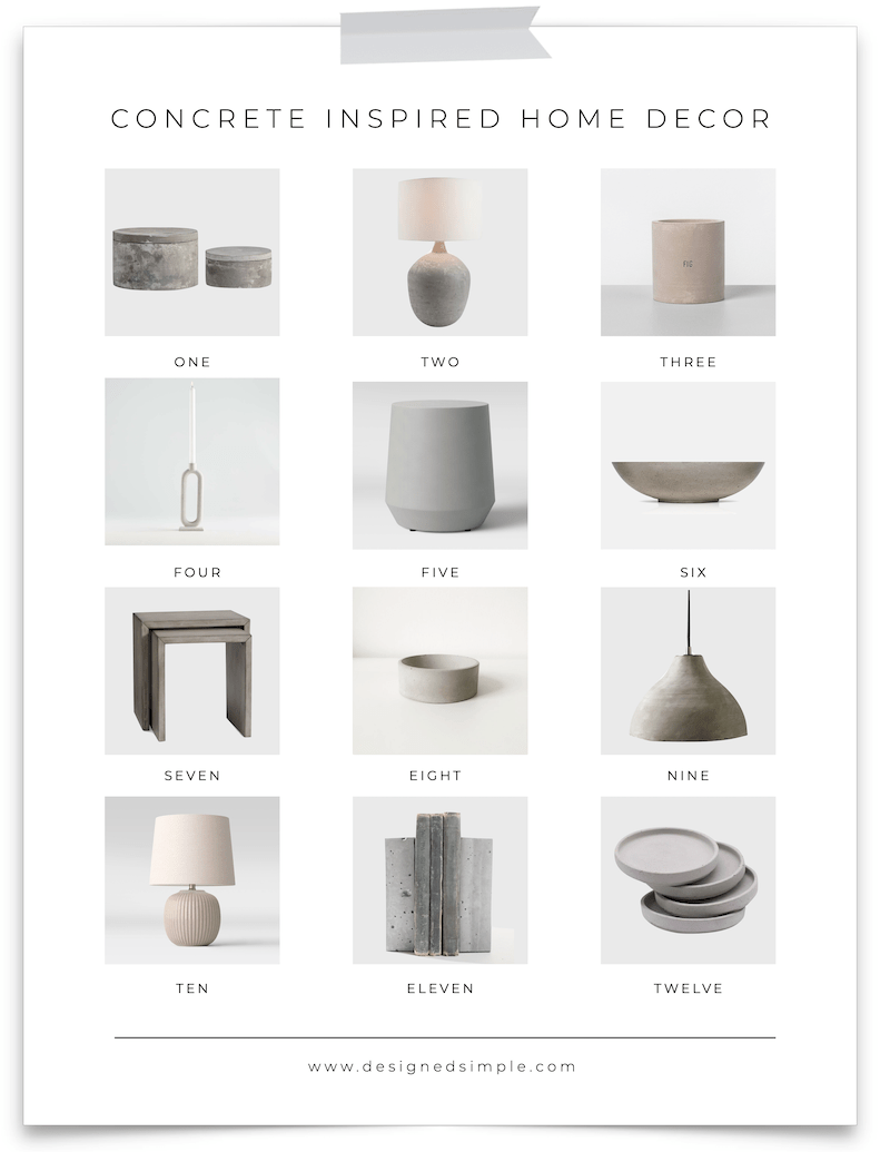 Concrete Inspired Home Decor | Add a modern flair to your decor with concrete pieces! From lamps to soap dishes and candlesticks - there are so many options! | Designed Simple | designedsimple.com