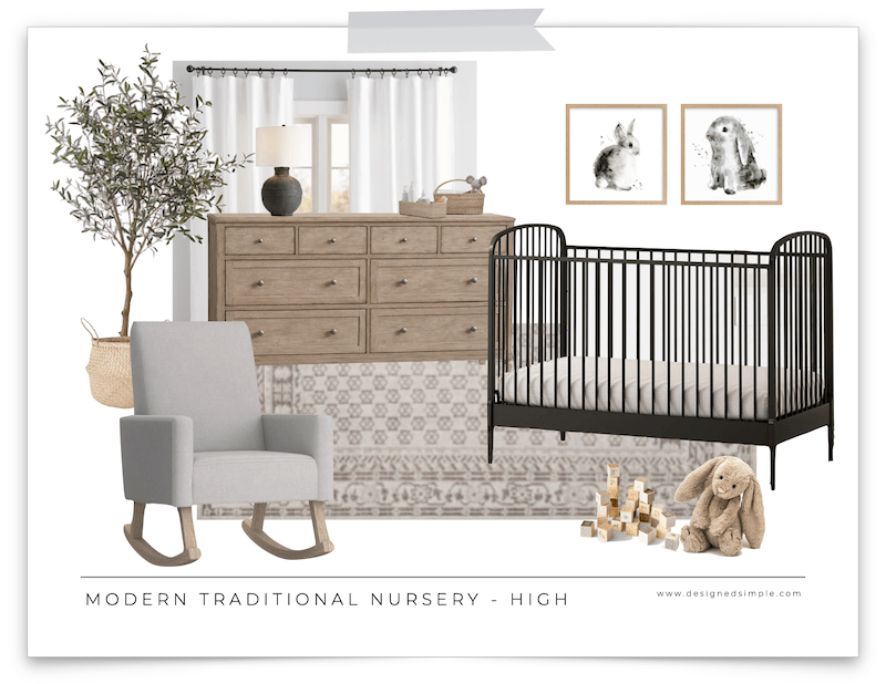 Sharing a modern traditional nursery design at a high cost and low cost. This room is adorable and looks great for any budget. | Designed Simple | designedsimple.com