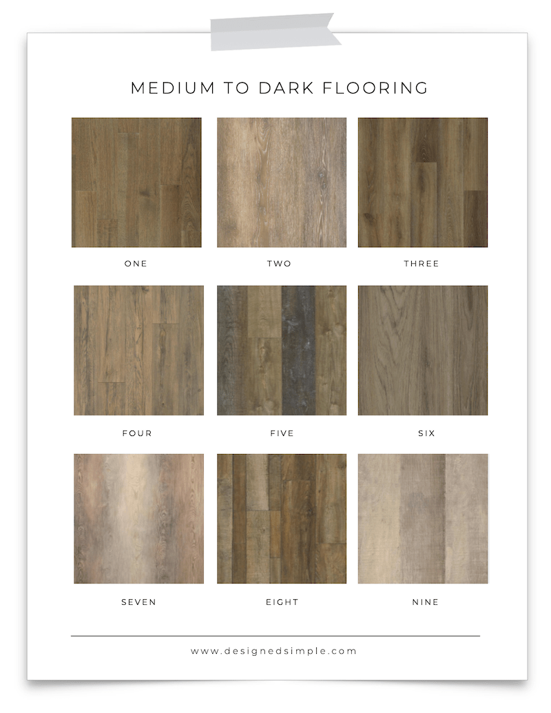 Sharing some of my favorite popular flooring colors - from light, to medium, and dark. Perfect for any style home or esthetic! | Designed Simple | designedsimple.com