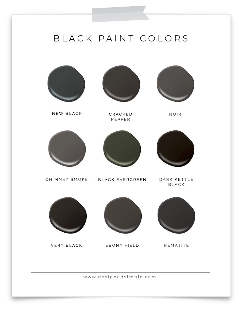 Sharing my favorite Valspar black paint colors including the color used on our ceiling & front door. Plus, tips for picking the best color! | Designed Simple | designedsimple.com