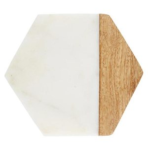 SHOP NOW! Set of marble & wood coasters perfect for your side table or coffee table. Would also make a beautiful gift for a new homeowner. | Designed Simple