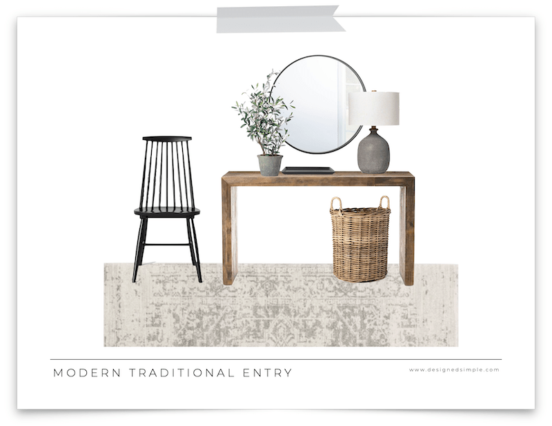 Sharing a modern traditional entryway design with items every entry needs - beautiful table, accent chair, oversized mirror, and faux plant!   Designed Simple   designedsimple.com
