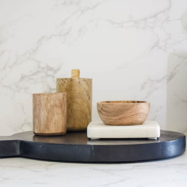 SHOP NOW! This wood bowl & marble tray are so versatile. You can use them anywhere in the house - in the kitchen, office desk or bathroom. | Designed Simple