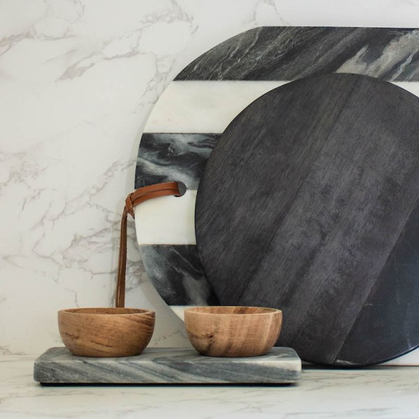 SHOP NOW! This double wood bowl & gray marble tray are so versatile, you can use them anywhere in the house - kitchen, office, or bathroom. | Designed Simple