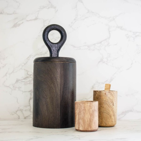 SHOP NOW! Add style & function to a shelf or kitchen counter. This wood canister with lid is the perfect size for dried spices or salts.   Designed Simple