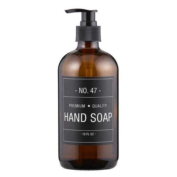 SHOP NOW - This stylish amber glass hand soap bottle features a simple and sophisticated label. Just add your favorite hand soap!   Designed Simple