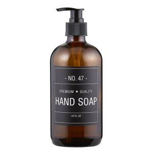 SHOP NOW - This stylish amber glass hand soap bottle features a simple and sophisticated label. Just add your favorite hand soap! | Designed Simple