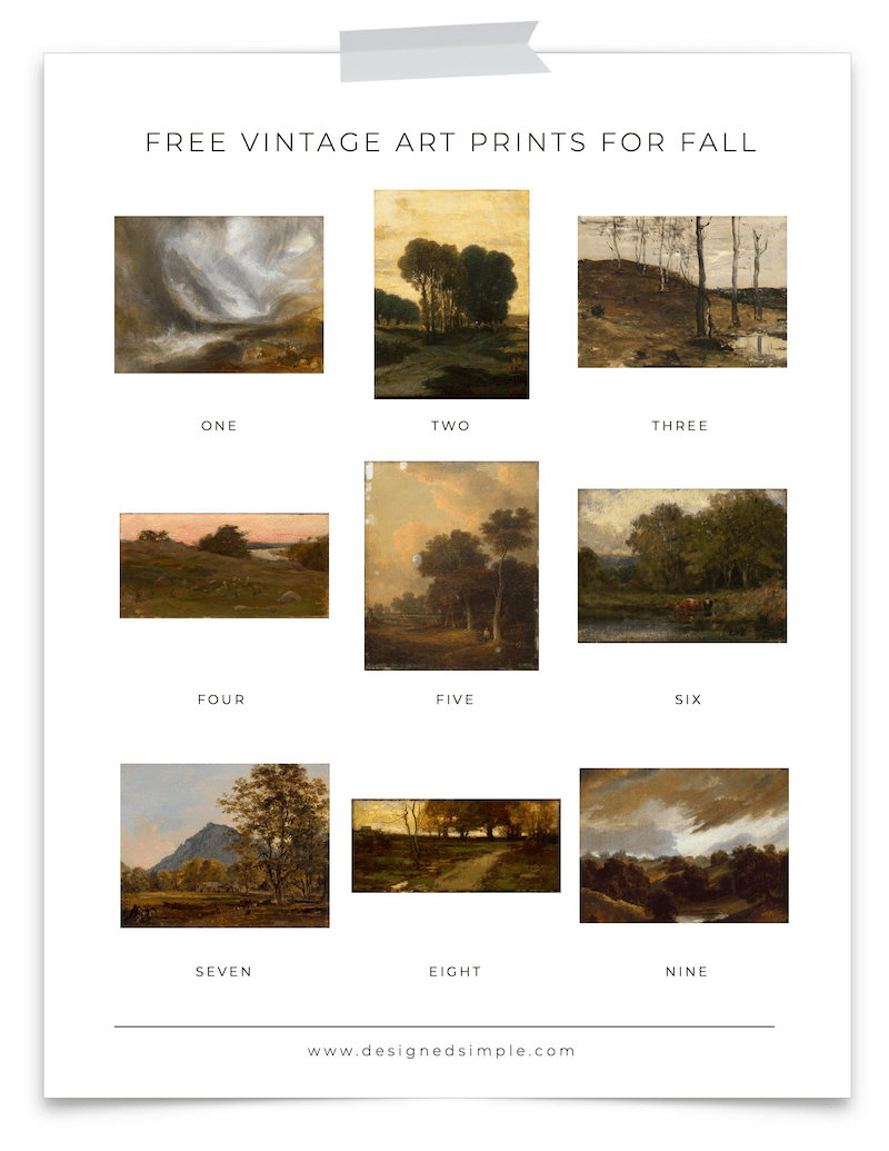 Sharing some of my favorite FREE vintage art prints for fall! Perfect for the season to switch up the art on a wall or bookshelf.   Designed Simple   designedsimple.com