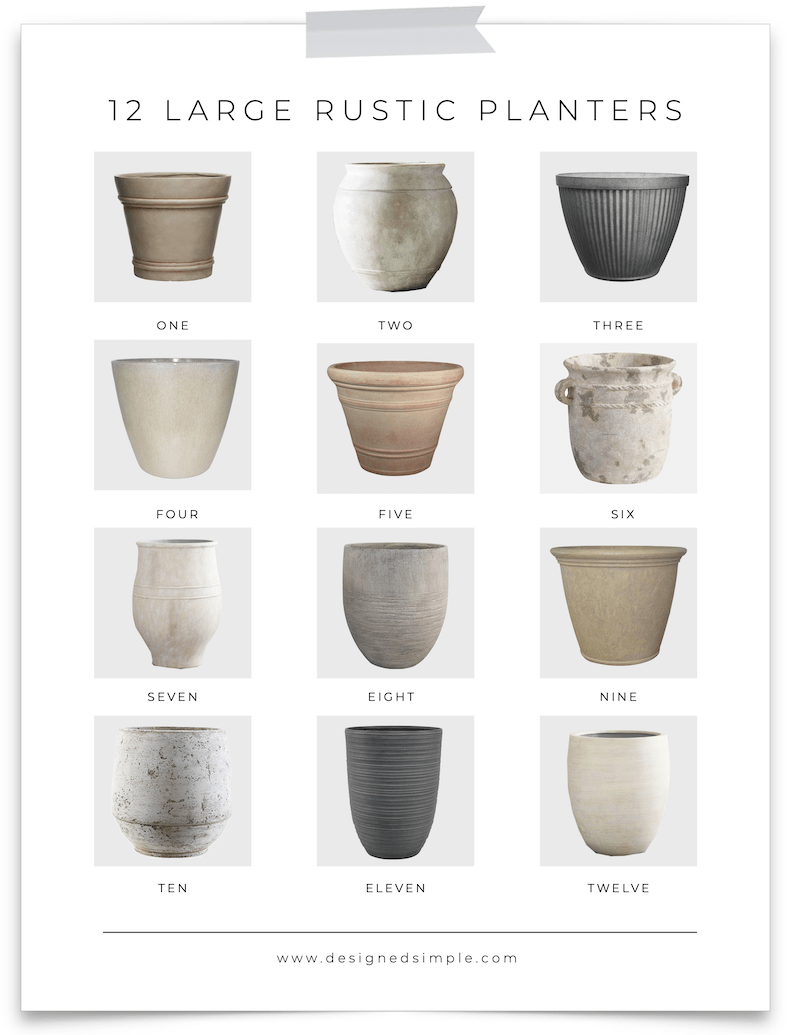 Sharing my favorite large rustic planters - perfect for indoors or outdoors, real plants or faux, high end or low end cost.   Designed Simple   designedsimple.com