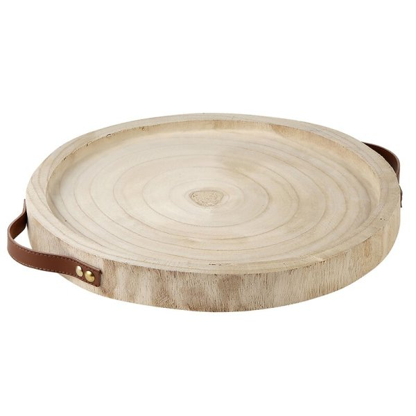 SHOP NOW - This wood tray with leather handles is a great addition to any household. Perfect as a centerpiece for candles, vases, and more!