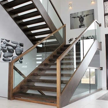 Custom Stairs Staircases Chicago Designed Stairs   Custom Wood Stair Railing   Natural Wood   Barn Beam   Metal Spindle   Attic Stair   Rail