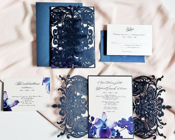 Orchid Wedding Invitation Blue Laser Cut