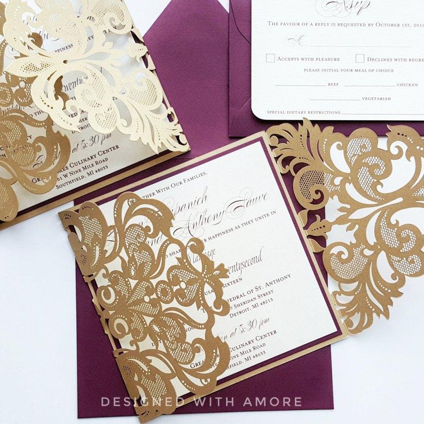 Custom Burgundy Gold Lasercut Wedding Invitation Card