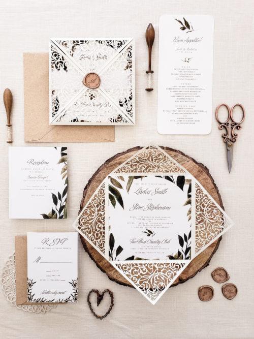 Invitation Suite Naples Design Rustic Wedding Italian