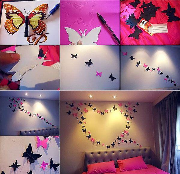 Seinien sisustus perhoset sydämessä