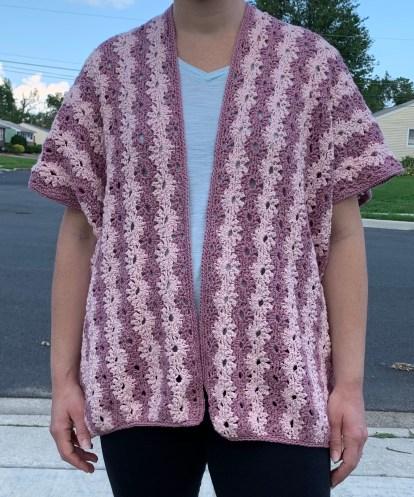kimono, crochet, silk cotton, summer cardigan, spring cardigan, flower, crochet, 2 weight yarn, cardigan, light weight cardigan, crochet stitches, silk yarn, cotton yarn, petal stitch