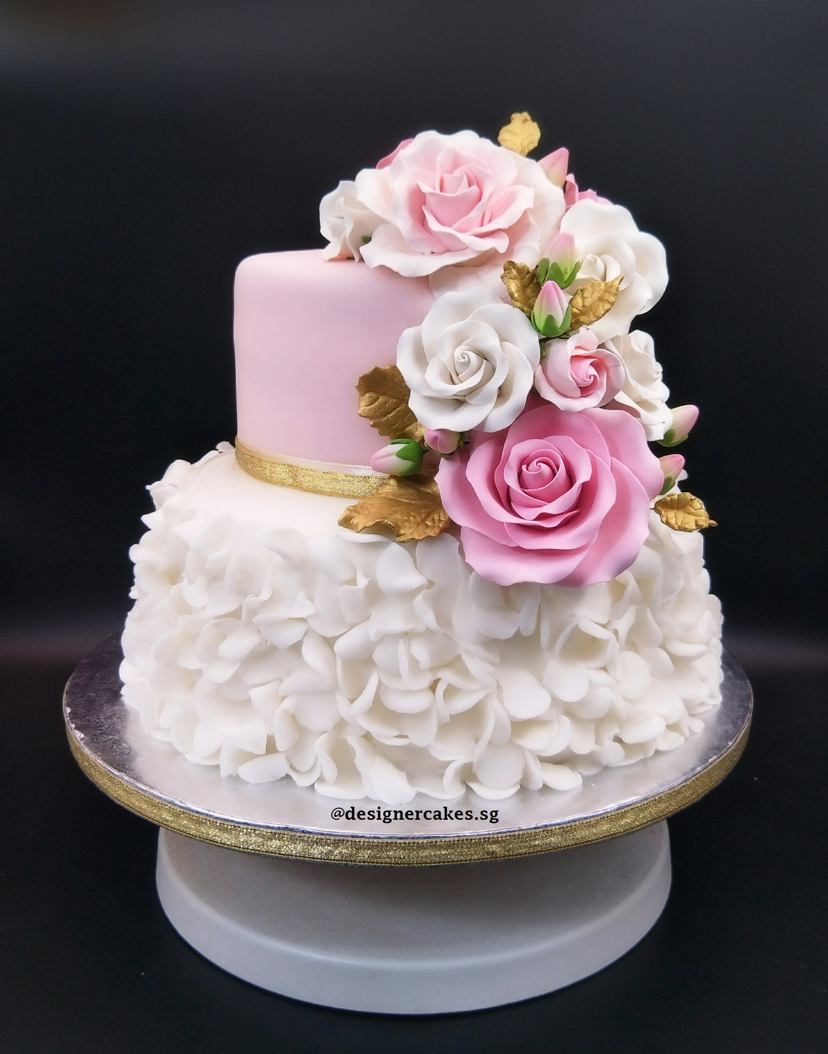 2 Tier Pink And White Wedding Cake With Sugar Flowers Le Petit