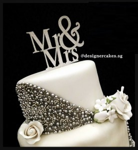 2 Tier - White Wedding Cake with Silver Sparkle Pearls, Sugar Rose Flowers and Mr & Mrs Cake Topper.