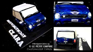 3D Mini Cooper Car Cake with Built-in Lights