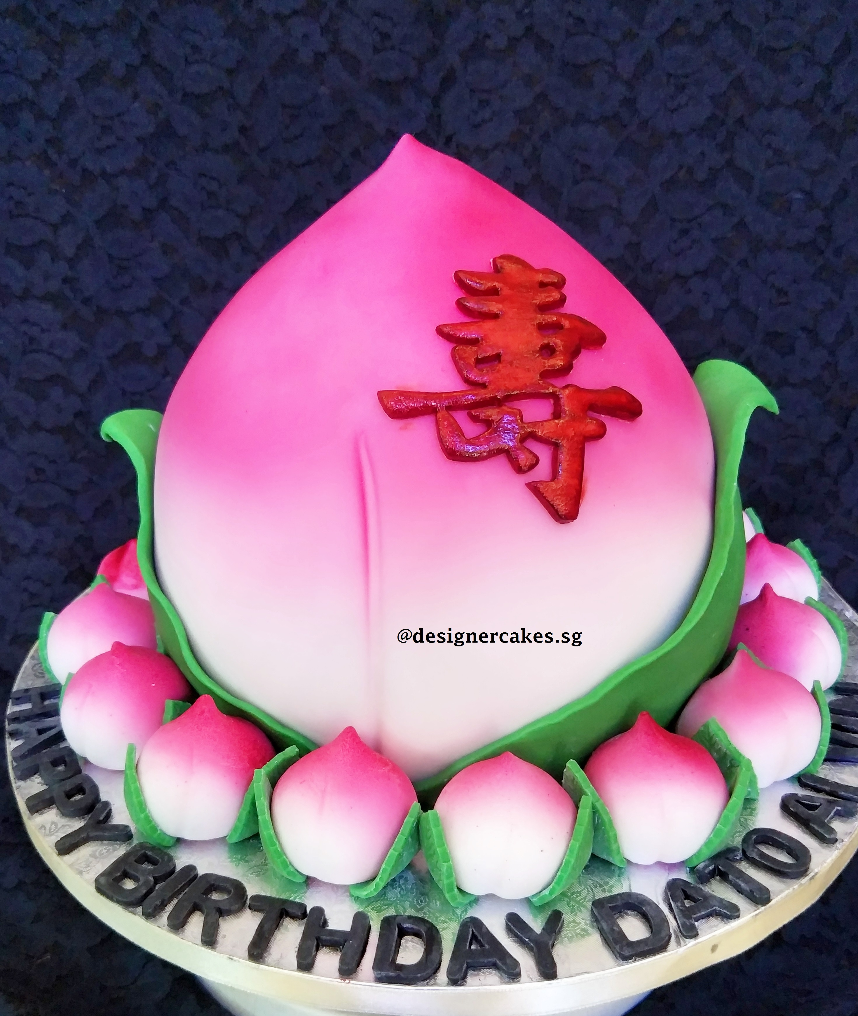 3D Shou Tao Longevity Bun Cake surround with mini sugar shou tao