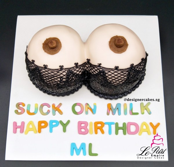 Adult Cake - 3D Fondant Boob Cake with Sugar Lace Lingerie