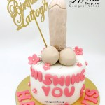 Adult Cake Penis Design with Flowers.