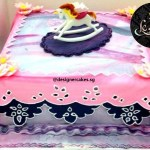 Cosmic Marbled Fondant Cake with Rocking Horse.