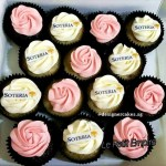 Customized Company Logo Cream Cup Cakes