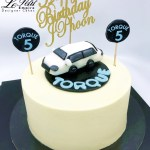 Customized Cream Cake with Car Topper, Customized Logo and Customized Name Topper.