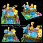 Customized Safari Jungle River Fondant Cake, with Crocodile, Elephant, Giraffe, Tiger, Lion and Hippo.