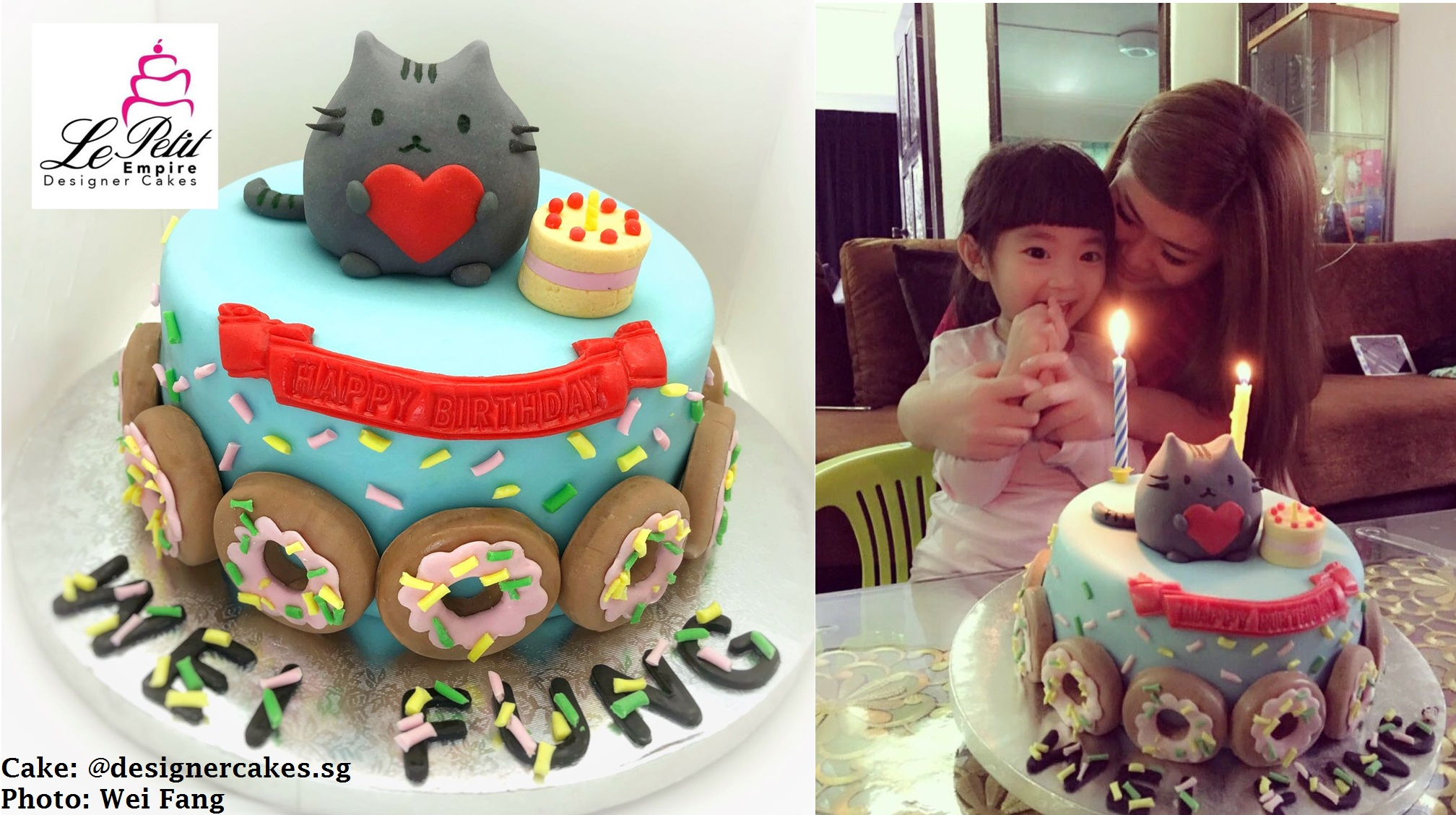 Fondant Cat Cake with Mini Cake and surrounded with Donuts Le