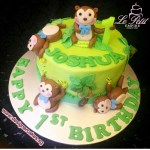 Animal Safari Jungle Themed Monkey 1st Birthday Cake