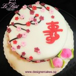 longevity 寿桃 customized fondant sakura flowers cake