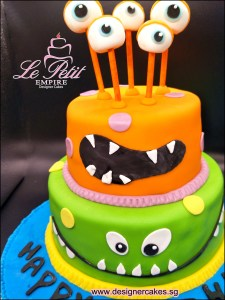 2 Tier, Monster Cake, Monster Eyeballs Customized Fondant Cake Neon Colors Neon Green, Neon Orange