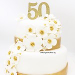 2 Tier Customized Designer Fondant Cake White & Gold Theme Sugar Flowers