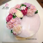 Korean Butter Cream Flower Cake - Crescent Style, Rose, Apple Blossom, Leaf and Flower Buds.