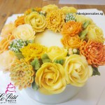 Korean Butter Cream Flower Cake - Wreath Style, Rose, Crysanthemum, Rise Flower and Apple Blossom.