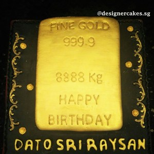 Money Cake - 3D Fine Gold bar fondant cake 2. Singapore Customized Cakes