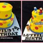Yellow Cake with Colorful Polka Dots. + Sesame Street Cake Toppers