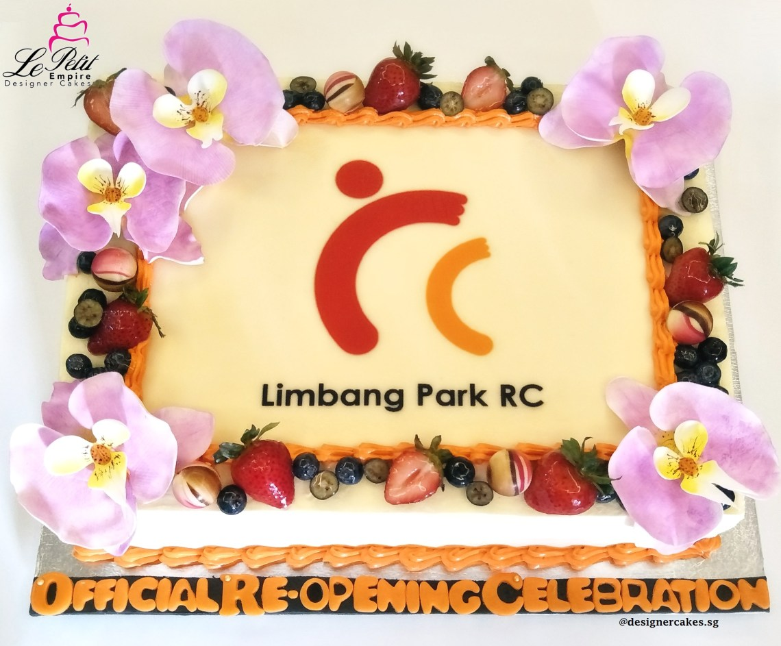 Sugar Flower Cake - RC Logo Cake with Fresh Fruits and Sugar Flower Orchids.