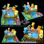 Jungle Safari Animal Customized Fondant 3D Giraffe, Elephant, Tiger, Crocodile, Hippo, Lion Cake
