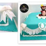 Teddy Bear Customized Fondant Cake Tiffany Blue with Lace Ribbons Details