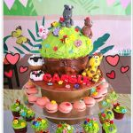 3D Giant Cupcakes Customized Cake + Giraffe, Sheep, Cow, Pig, Hippo, Bear Tower + Macarons, Mini Cupcakes with flower & Bees.