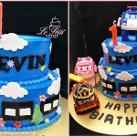 Blue Cake with Clouds, Road, Trees & Flowers. + Robocar Poli Toy Topper. 1st Birthday.