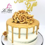 Black & White Cream Cake with Gold Drips, Gold Roses and Customized Name Cake Topper.