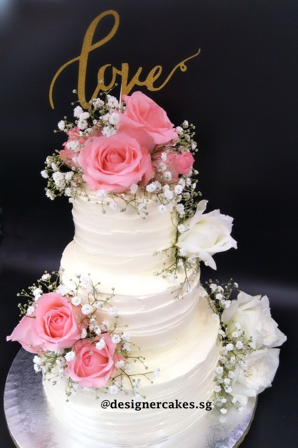 Fresh Flower Cakes – 3 Tier Cream Cake with Roses and Baby Breath. 2