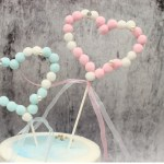 Pink Fury Ball Hearts Cake Topper (2)