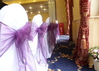 purple organza sashes